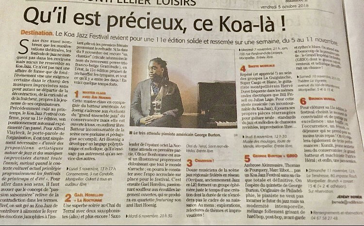 KOA Jazz Festival in Montpellier France -November 2018