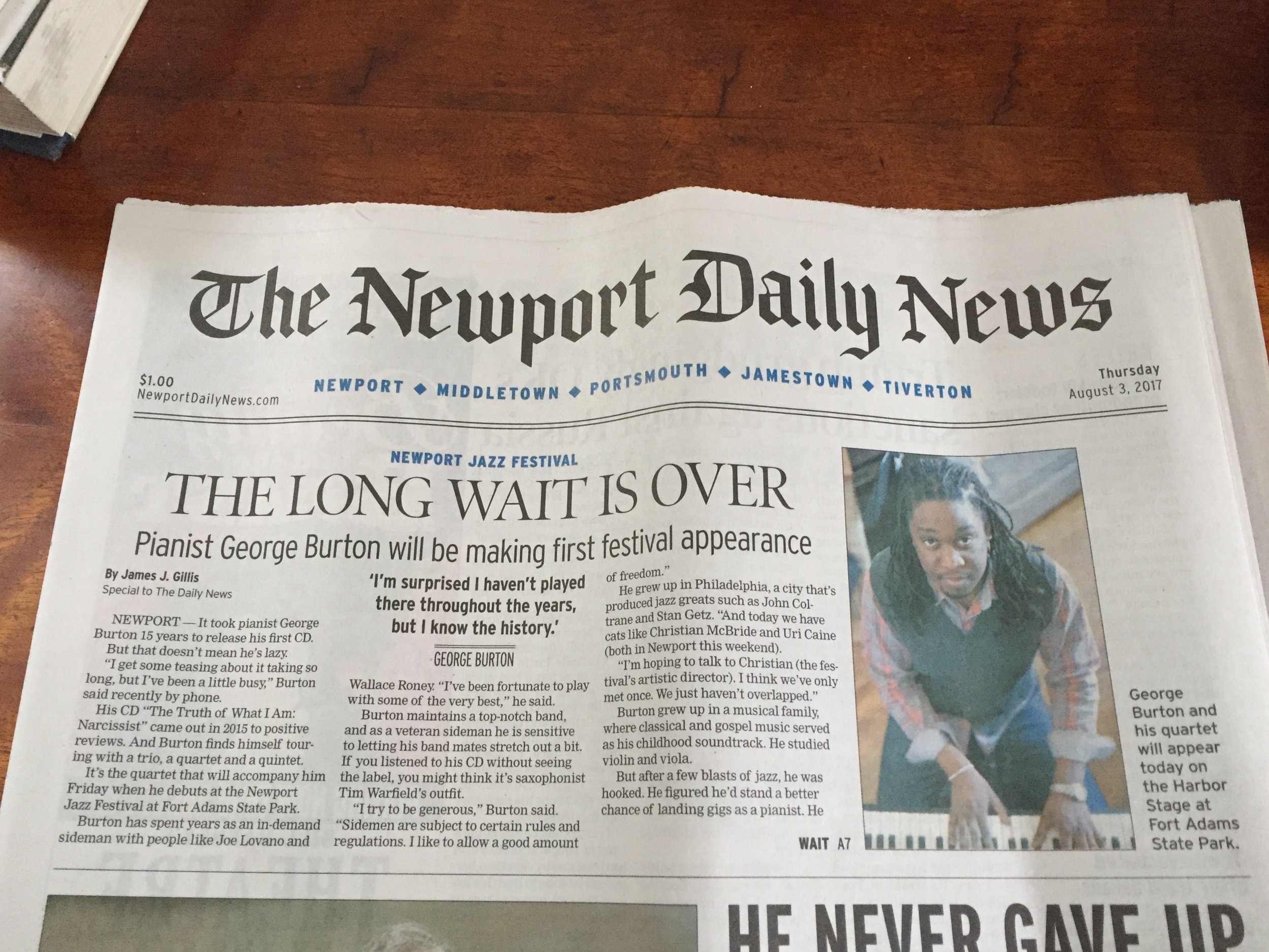 Front Page For the Newport Jazz Festival   August 2017