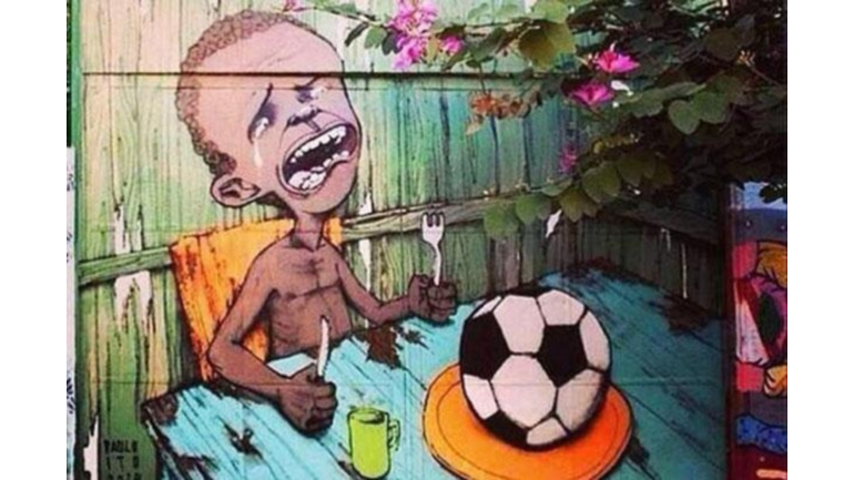 An example of the Brazilian graffiti about the 2014 World Cup. Source:  carlosdorna imgur.com