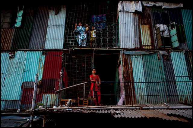 Slum apartment complex, Dhaka, Bangladesh. August 25, 2012.  Photo by Zoriah .  Used with permission .