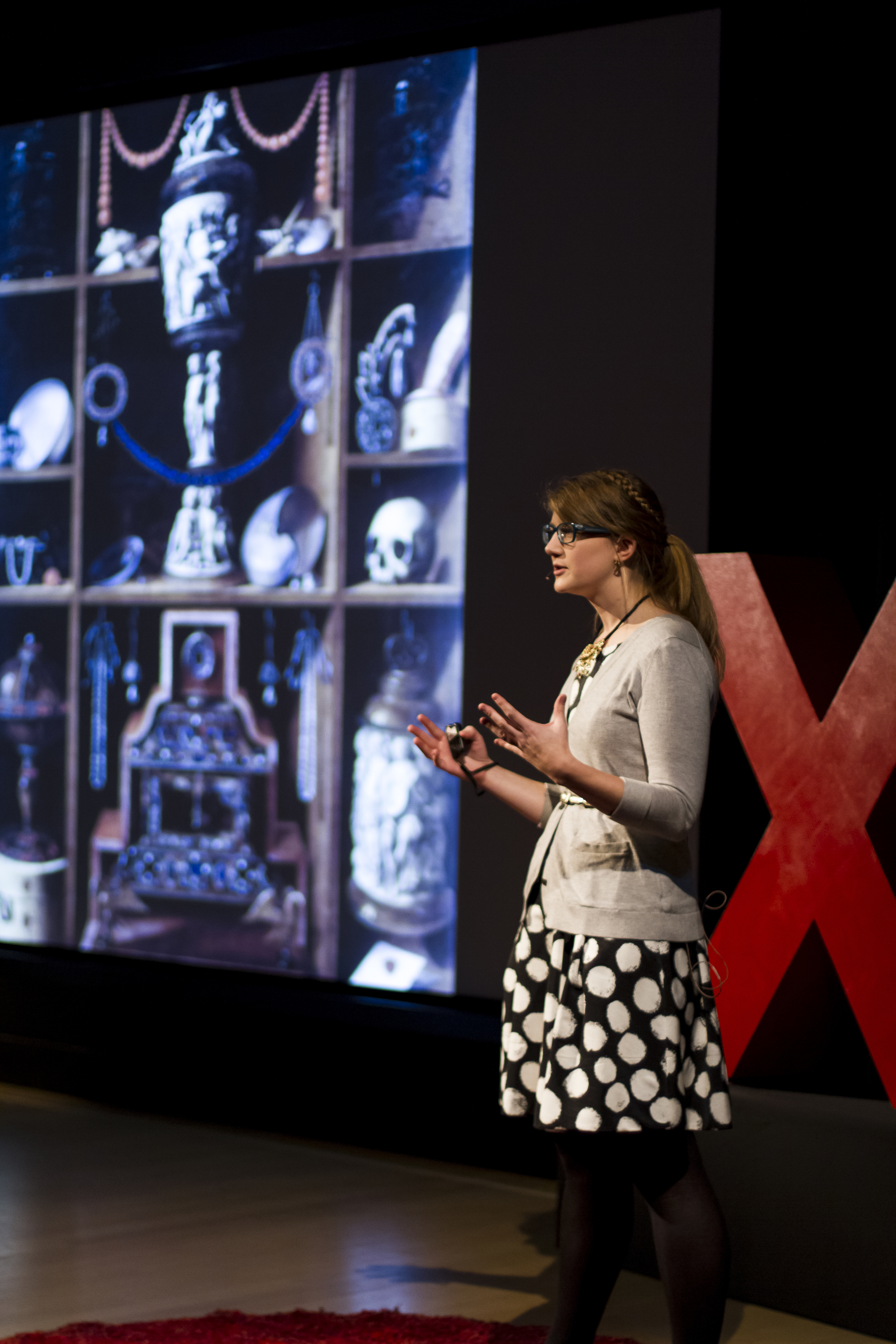 Emily Graslie speaking about the collections of the Field Museum on the TEDxSacramento stage.