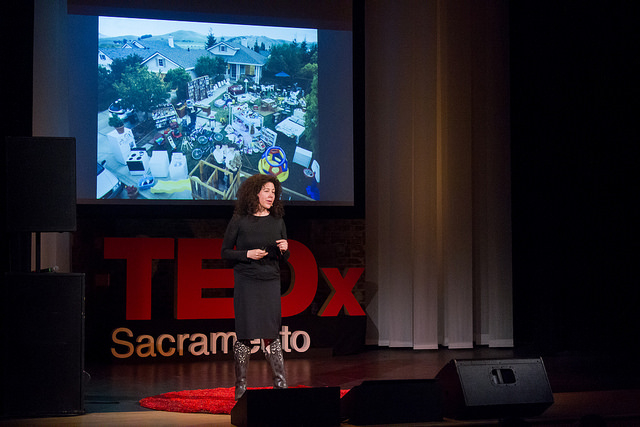 """Beth Rattner speaking at the TEDxSacramento Salon """"This Changes Everything: City"""" on March 7, 2015 challenging us to question what's in our  stuff ?"""