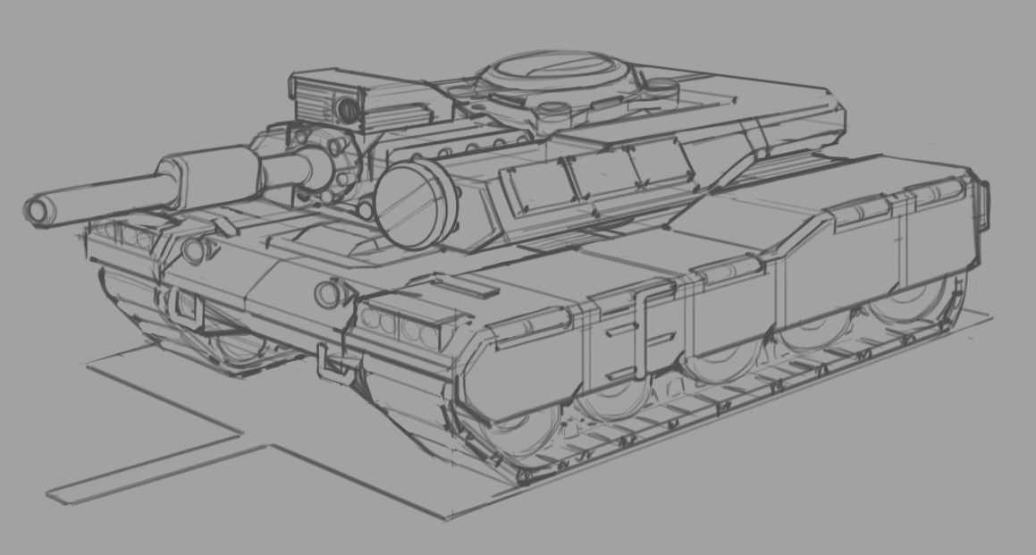 Started off with a more conventional tank after some thumbs...