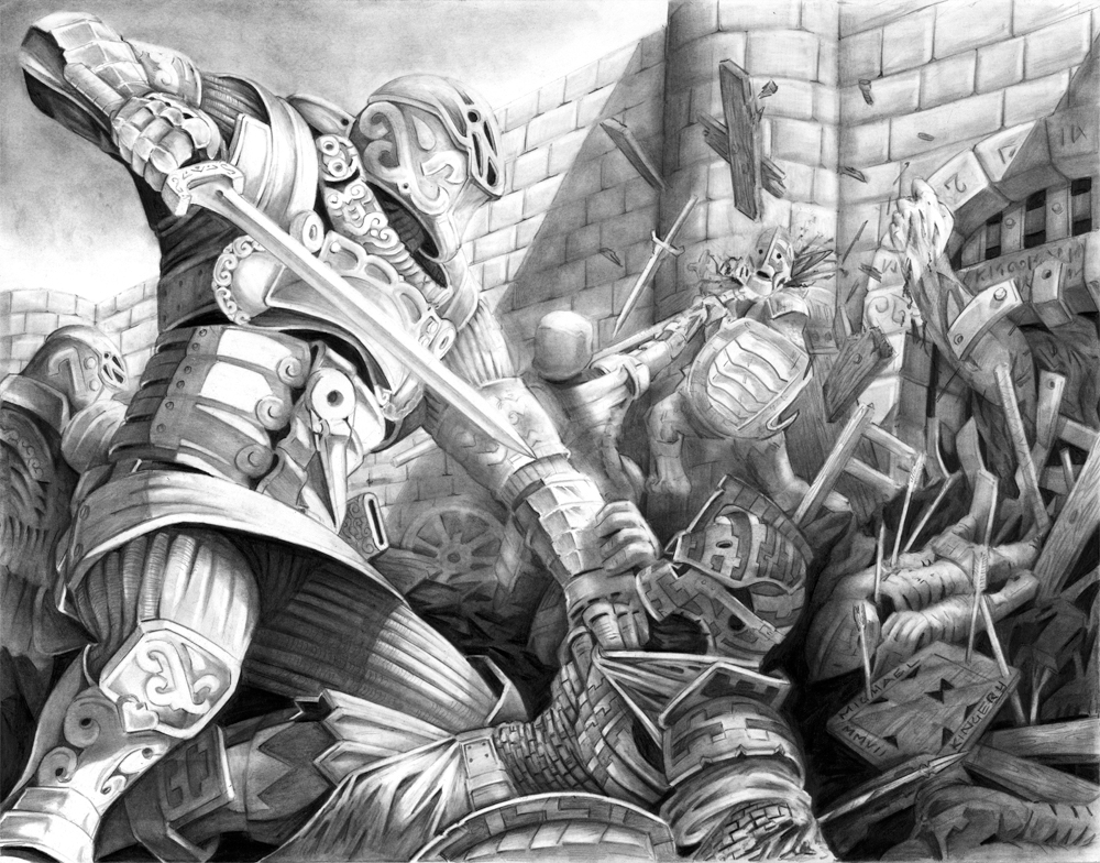 I find it odd that my creation of complex fight scenes and medieval armor kinda stopped after this picture was completed as well. I still love it, but rarely practice it.