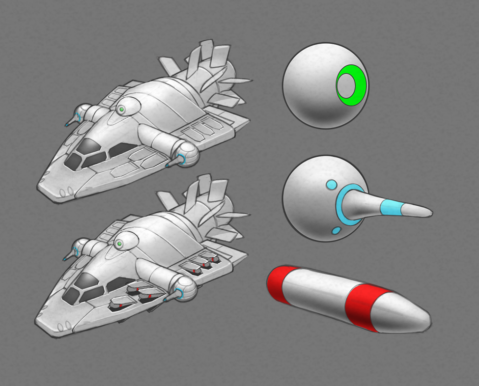 Here is a quick thumb of a small ship for an upcoming Oculus VR game.