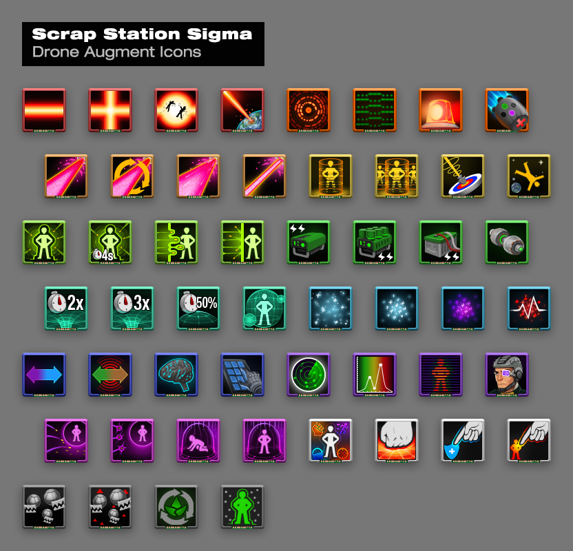 These icons are for Scrap Station Sigma and represent upgrades you can plug into your shuttle craft to aid your team in raiding enemy ships.