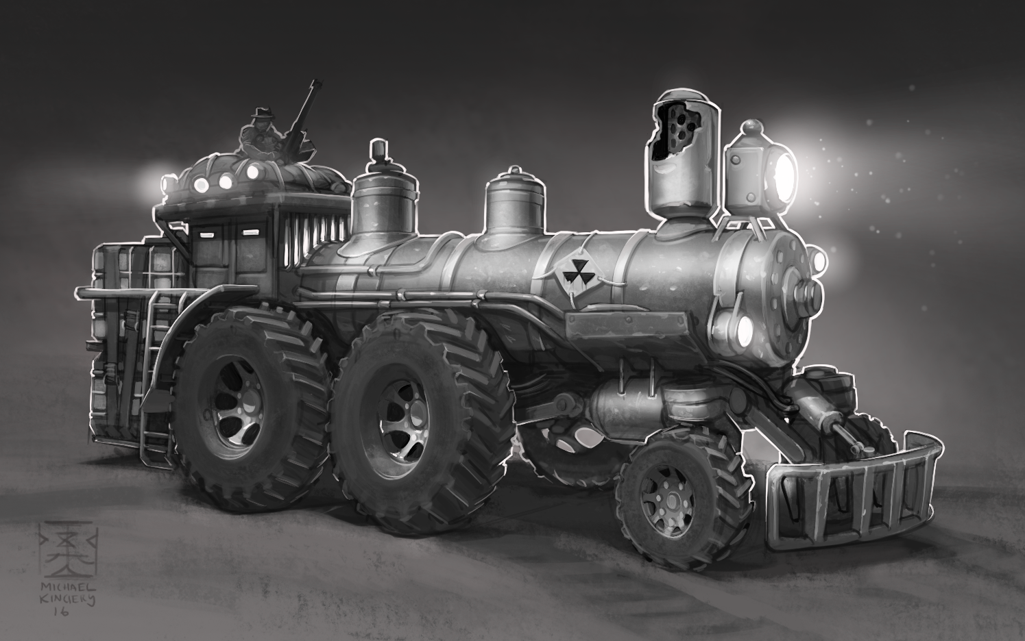 Jumped from some rough bones paintover of a train image into this without much time spent fixing wheel perspective. I was also using Procreate on the iPad pro so no fancy elipse tools im afraid. I think this design is far more appealing than the two other versions below visually, but the engineer inside me really wants a more capable looking turning solution besides the two front wheels being on casters...