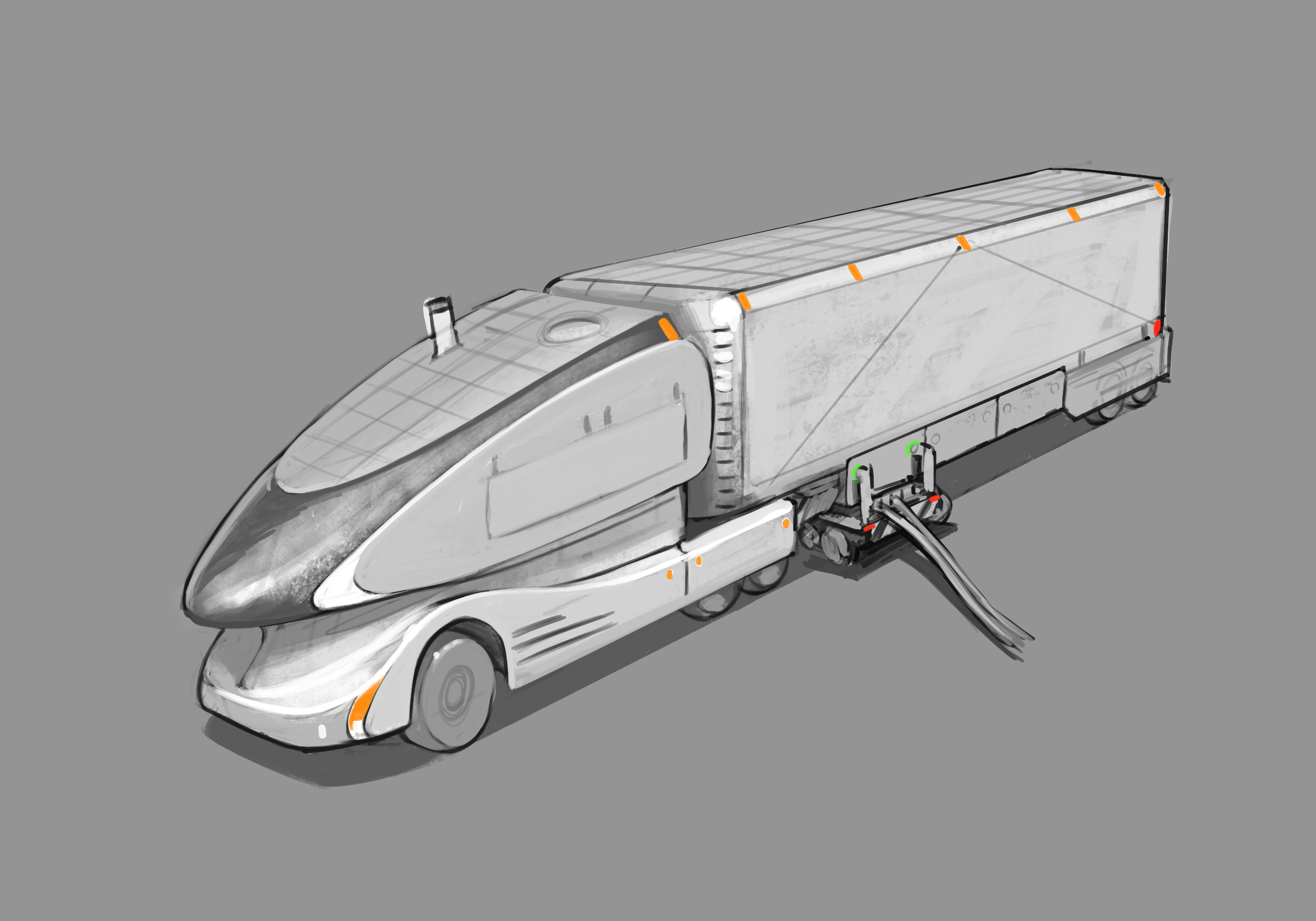 Electric semi sketch