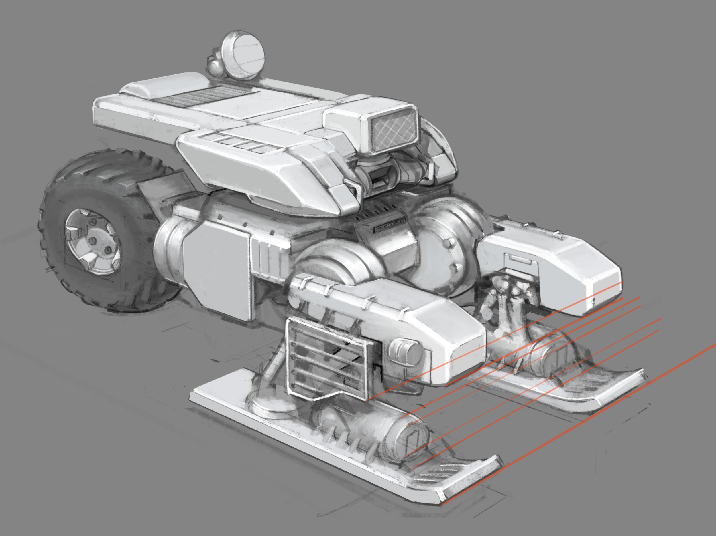 Finished up sketching a laser platform configured for road travel.