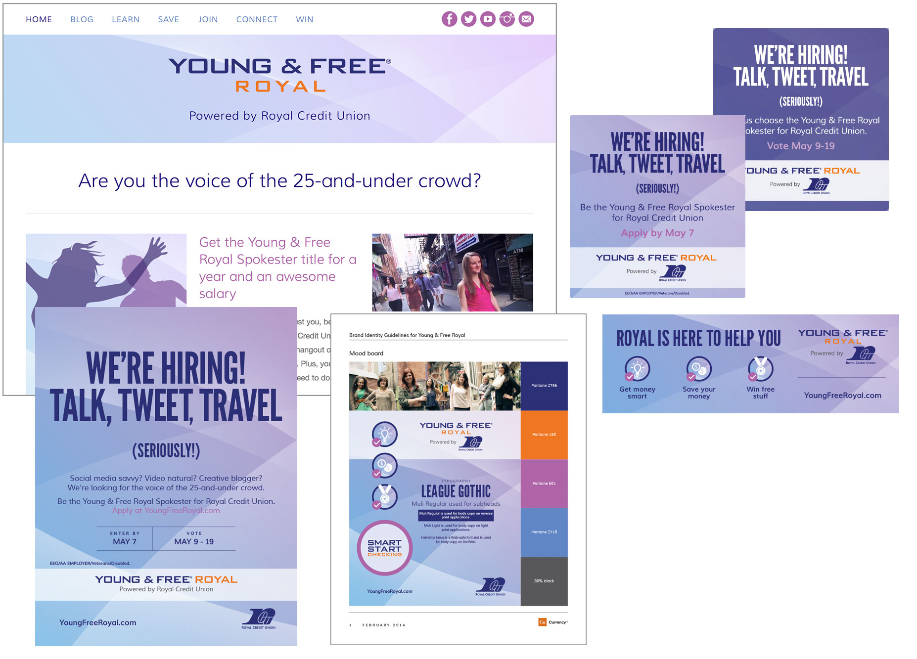 A few of the Young & Free Royal campaign elements