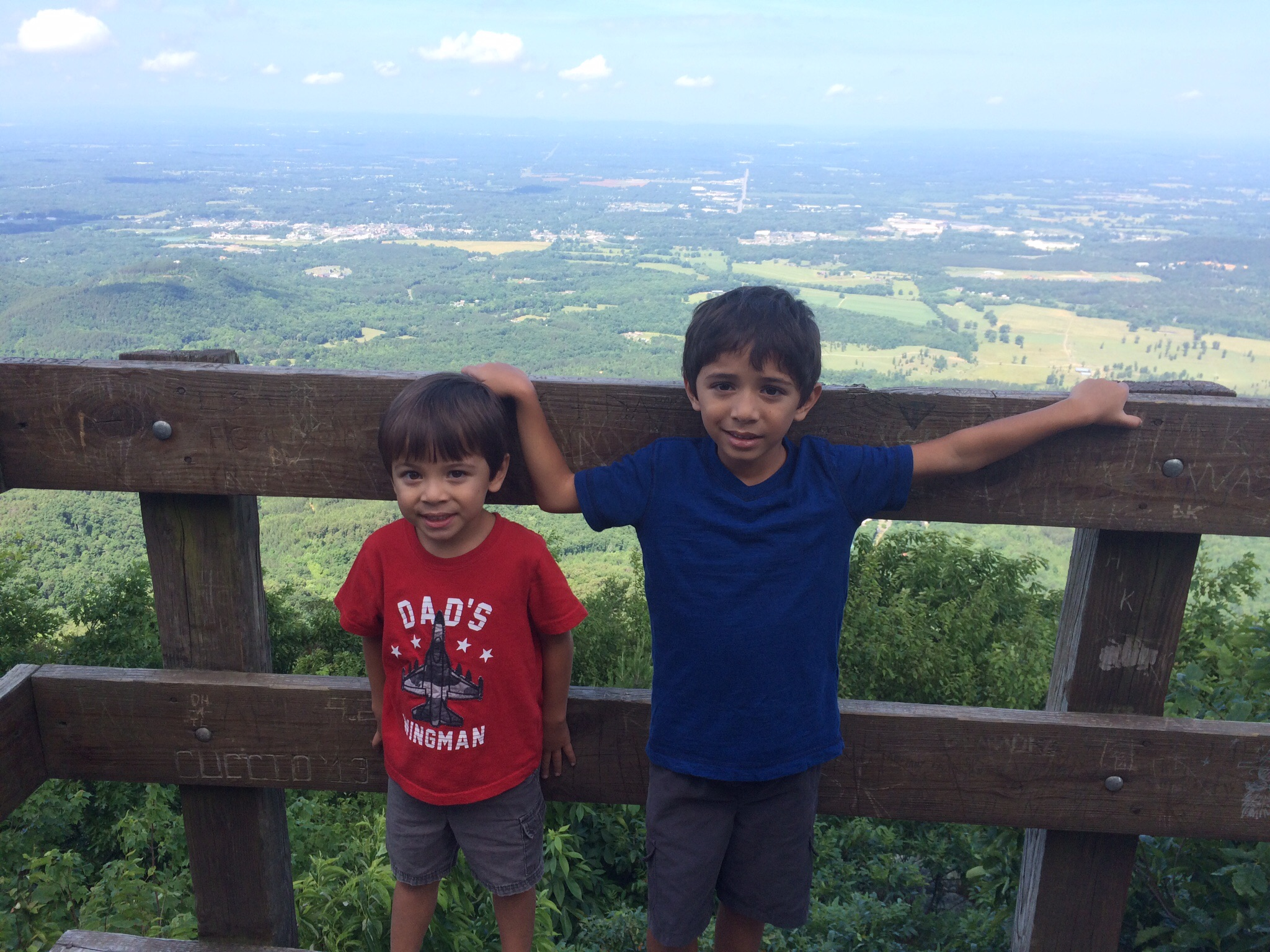 Koa and Noah at a lookout in Georgia