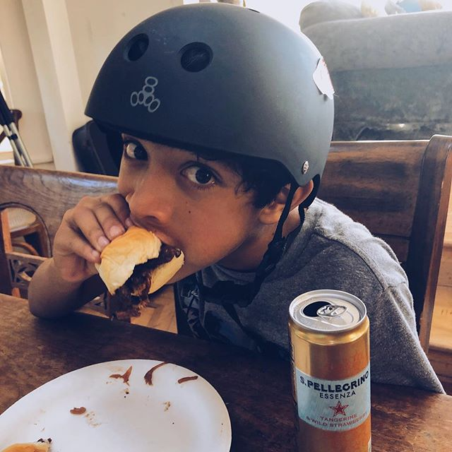 Koa: Grandma's in the kitchen tonight, better wear my helmet 😂