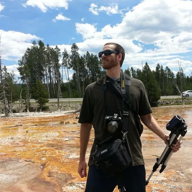 Dan, poised to take every possible picture of Yellowstone National Park