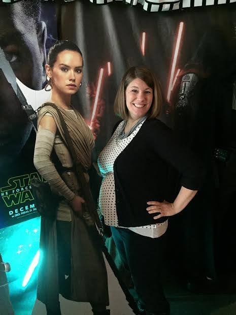 She awakened the force and I'm making a person. So we're both pretty badass.