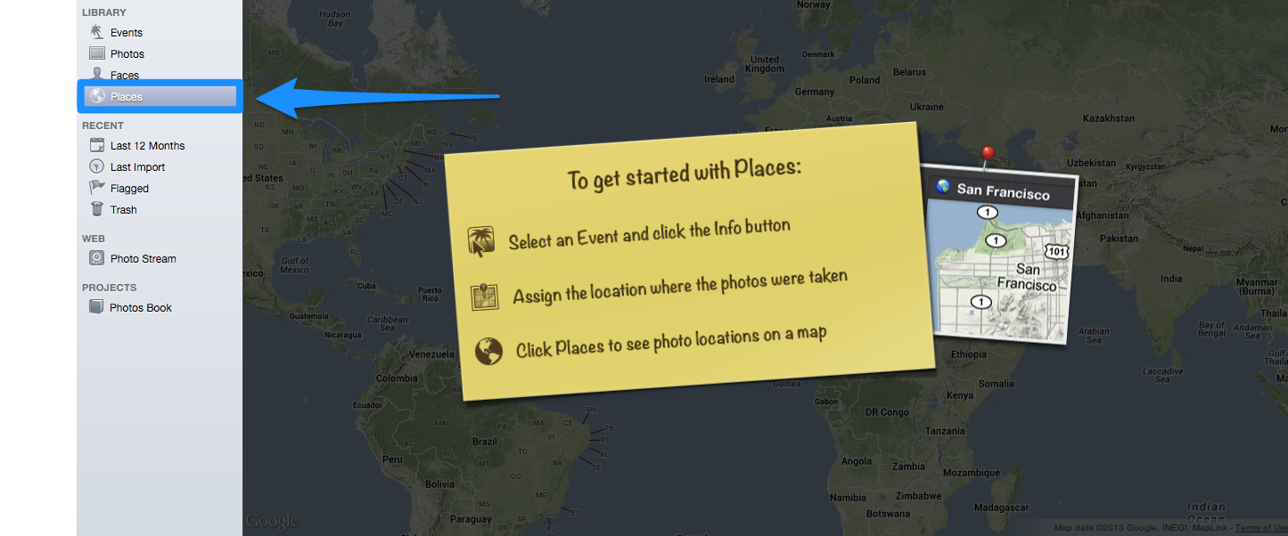 You can view your photos on a map in iPhoto by clicking on Places.