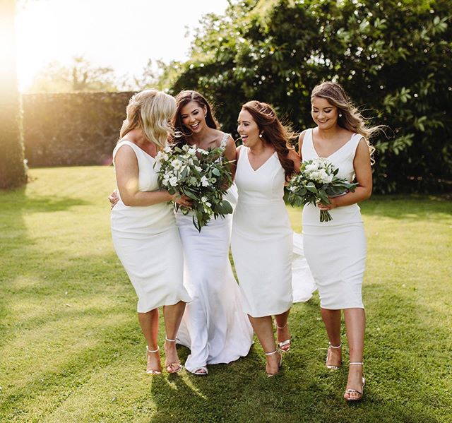 Rachel and her girls. I'm a sucker for a bold bridesmaid dress choice AND one that can be worn again!