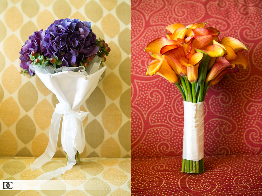The bouquets made of purple hydrangea and coffee beans, and gorgeous orange lilies
