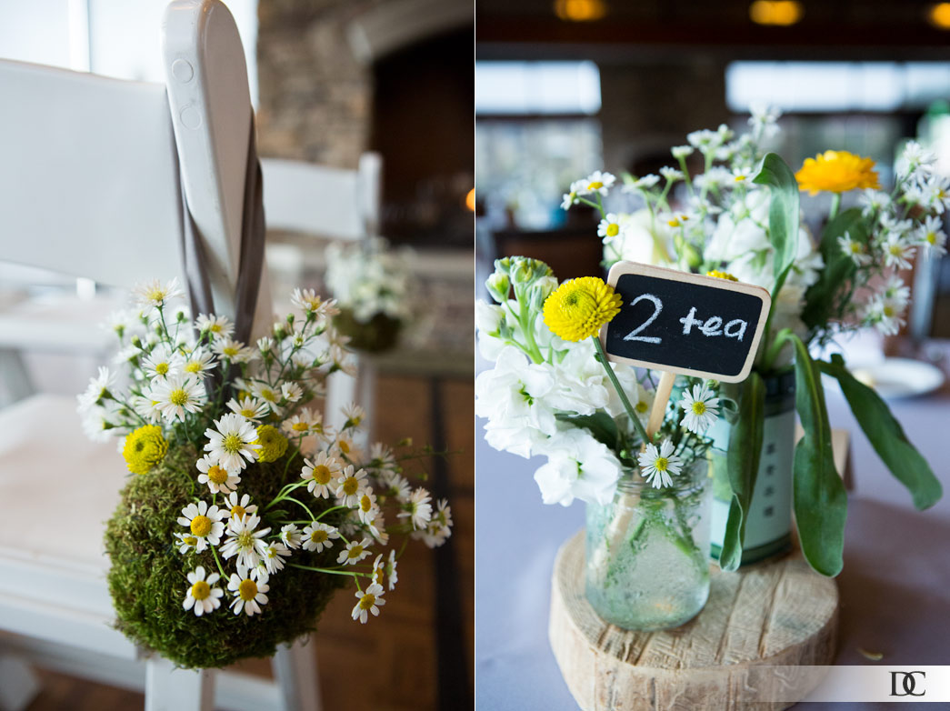 The adorable wildflower decorations fit Nadine's bright, lighthearted nature, and brought in lovely pops of yellow, the wedding's signature color.