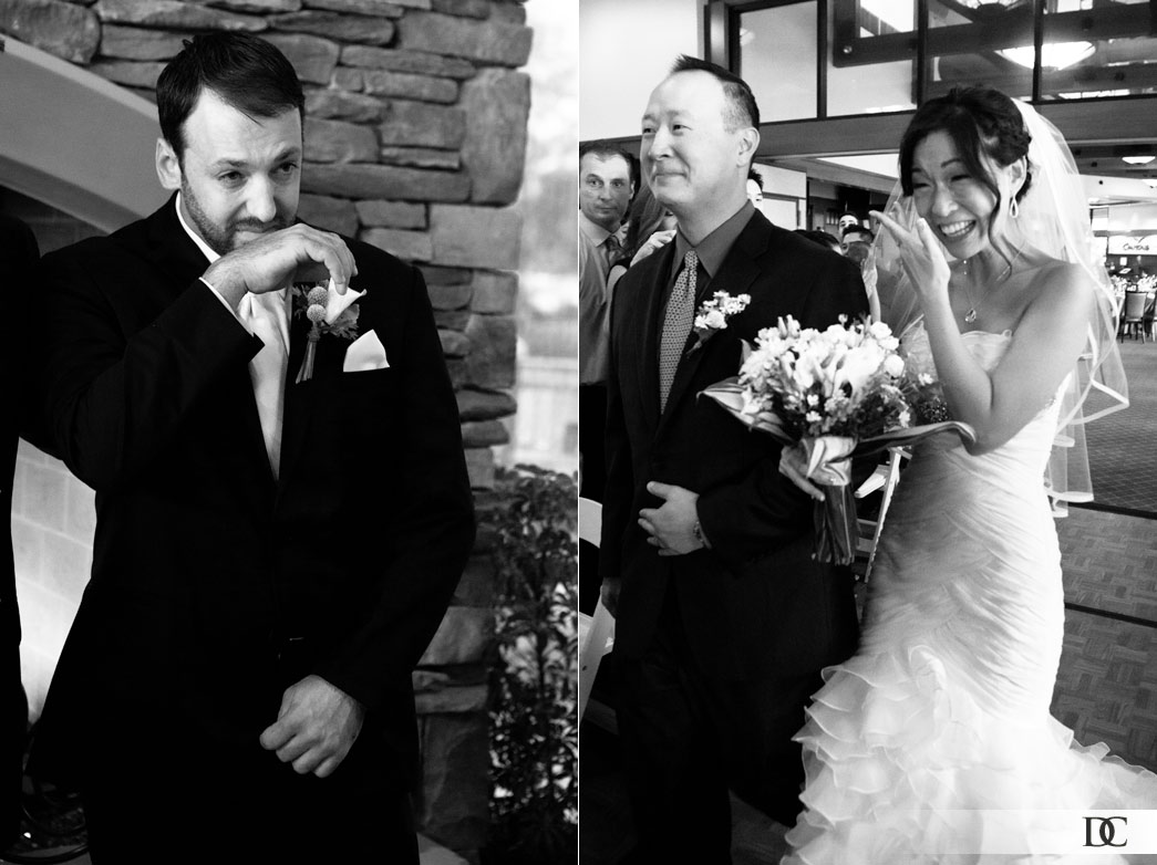 Both bride and groom shed tears when they first saw each other.