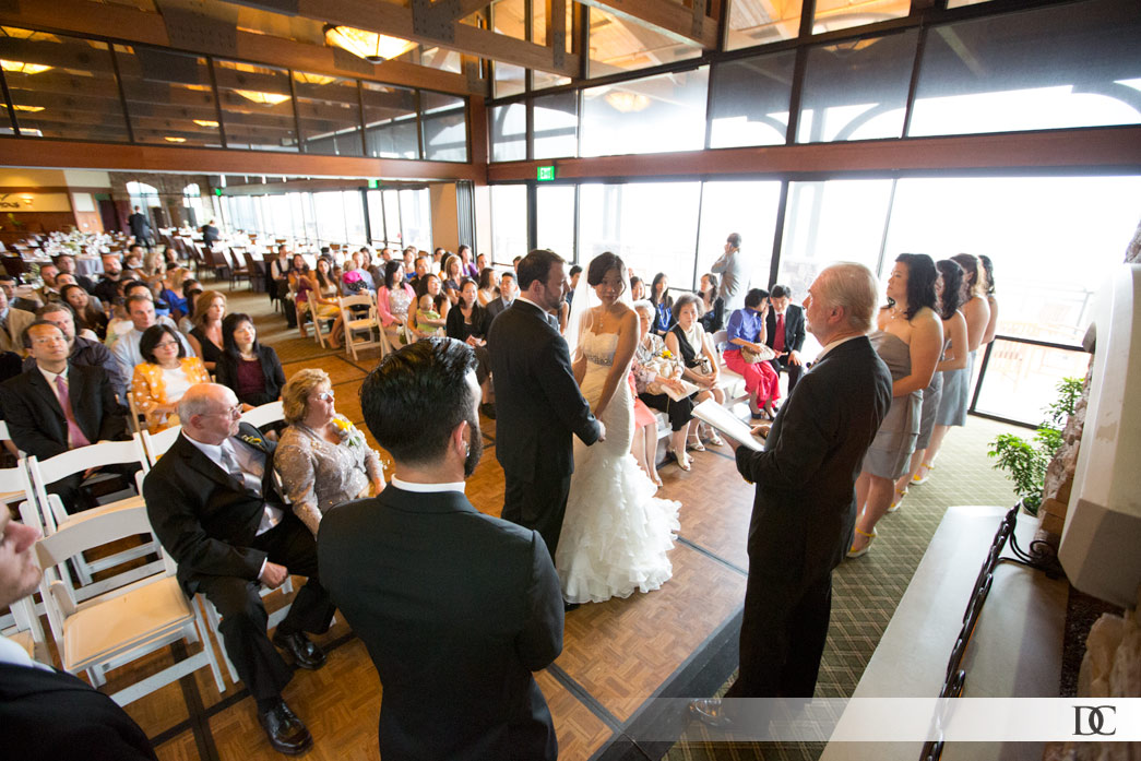 Due to the rain, the ceremony was held in the light-bathed restaurant at the Crossings at Carlsbad golf resort.