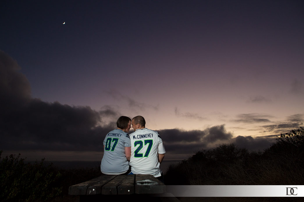 These Seattle Seahawks fans chose to announce the date of their wedding with custom-numbered jerseys.