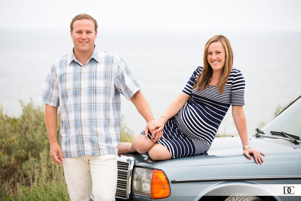 """The couple wanted some photos with their classic Mercedes. I jokingly said, """"Ok, I'll need Gretchen reclining across the hood like a super model."""" She didn't even think before just climbing up. Andrew wasn't worried about his car; he wanted a cool shot with his gorgeous wife. That's a man with his priorities in the right place."""