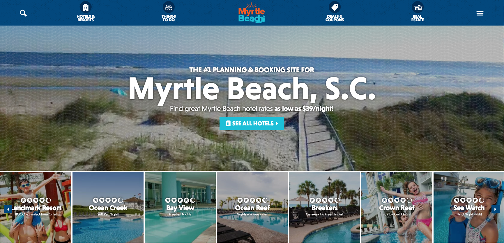 After nearly 10 years, the new design of MyrtleBeach.com was launched in spring 2017. Click to visit the site.