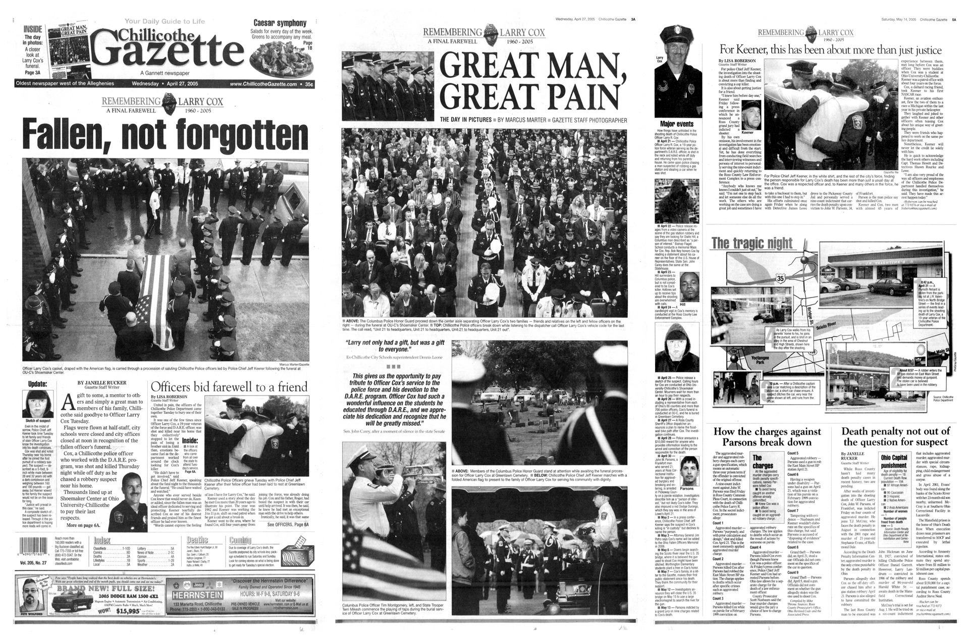 Several pages of coverage published following the shooting death of off-duty police officer Larry Cox, a well-known local figure and D.A.R.E. officer, in 2005.