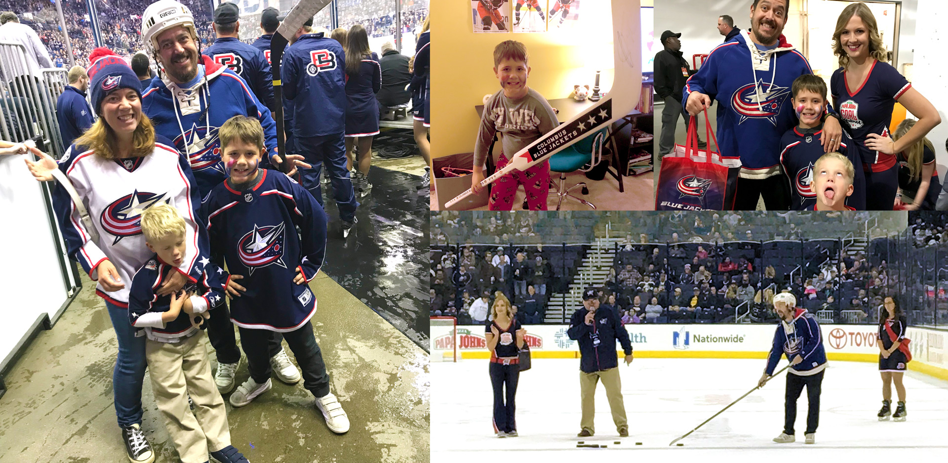 Clockwise from left: The Mowders hanging at ice level before the second intermission; Miles posing with his signed Sergei Bobrovsky stick at home; The boys and I with our prizes and awesome staff member; On the ice at Nationwide getting ready to shoot for the TomCat Triple Shot.