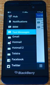 Blackberry z10 hub screen