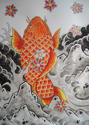 Koi originated in Central Asia but were brought to Japan by Chinese invaders.