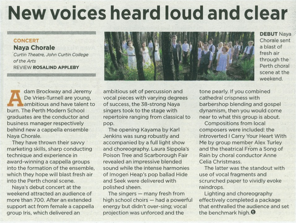 Debut concert review from The West Australian. Wed 1 August, 2012