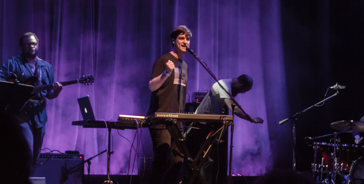 Louis Weeks and his band, shooting out of a cannon at The Howard Theatre - 5/28/15 (photo by Kevin Hill)