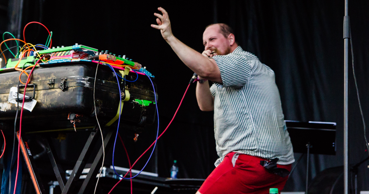 Dan Deacon performing at the 2015 Landmark Music Festival in Washington, DC - 2-27-15 (photo by Kevin Hill)