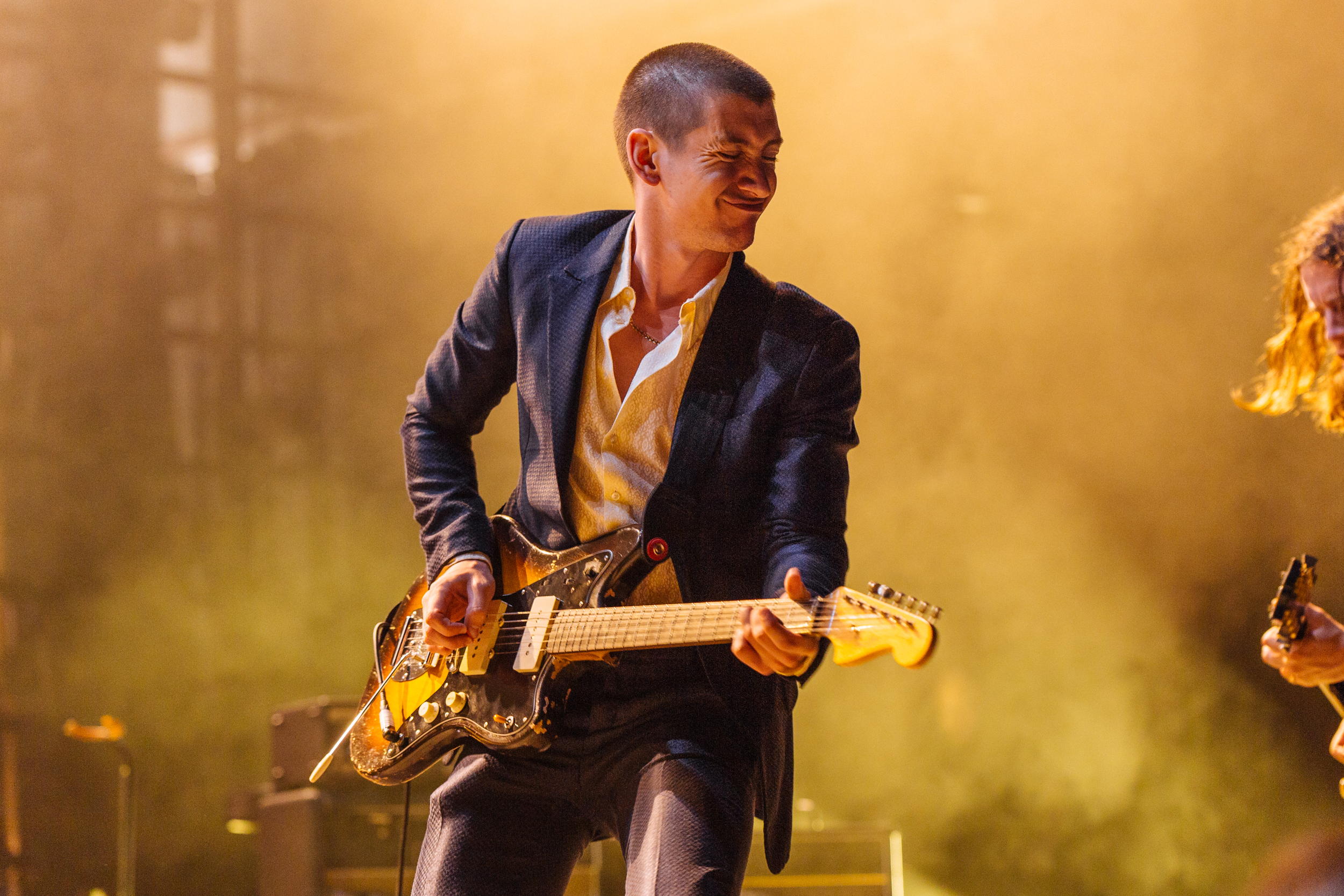 Alex Turner of Arctic Monkeys, possibly thinking about pizza. (Photo by Mauricio Castro /  @themauricio )