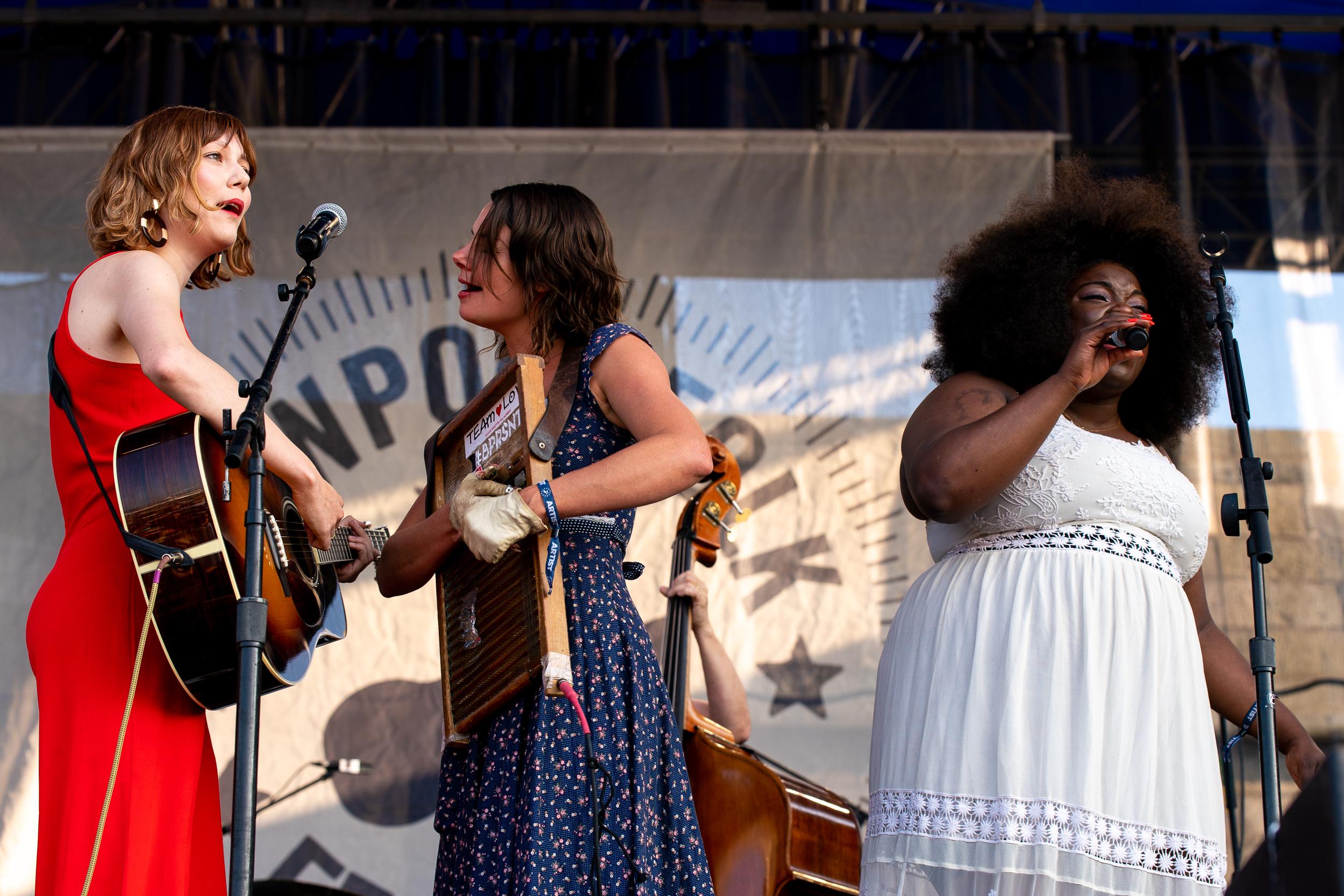 Molly Tuttle, Bonnie Paine, and Yola at Newport Folk Festival (Photo by Mauricio Castro)