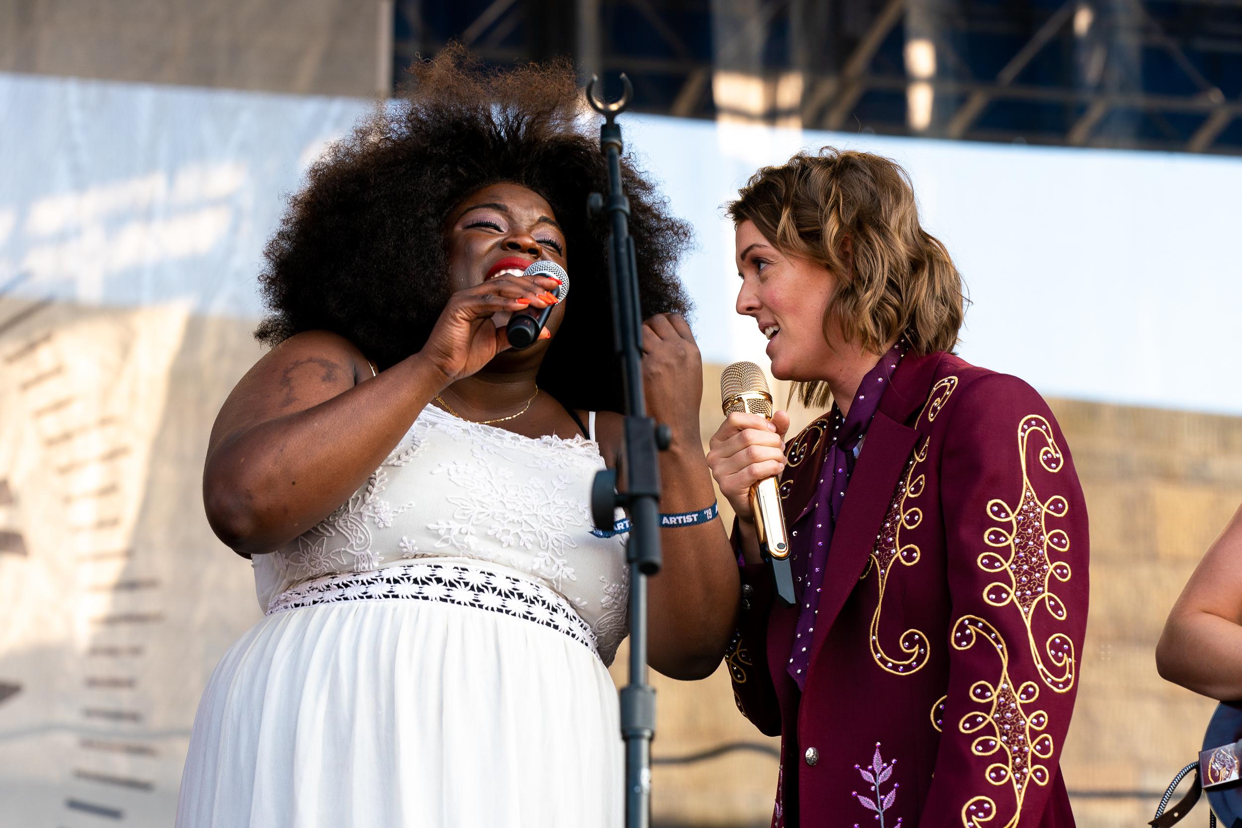 Yola and Brandi Carlile at Newport Folk Festival (Photo by Mauricio Castro)