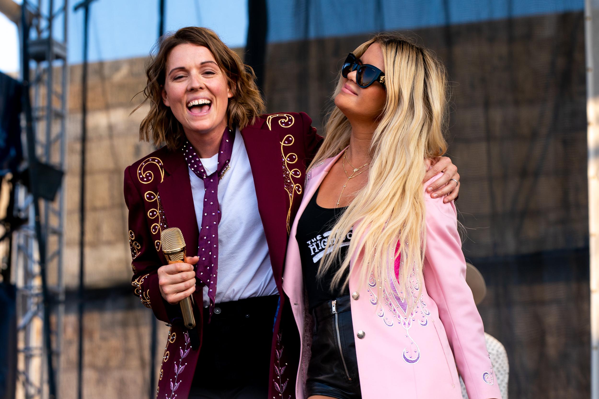 Brandi Carlile and Maren Morris at Newport Folk Festival (Photo by Mauricio Castro)