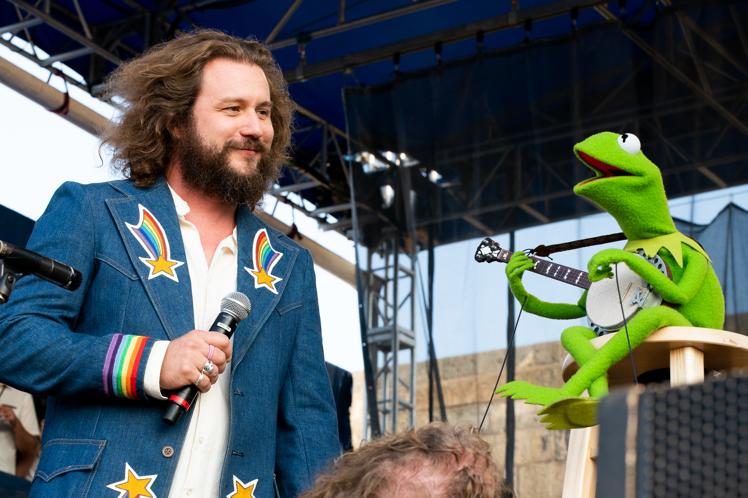Jim James and Kermit the Frog at Newport Folk Festival (Photo by Mauricio Castro)