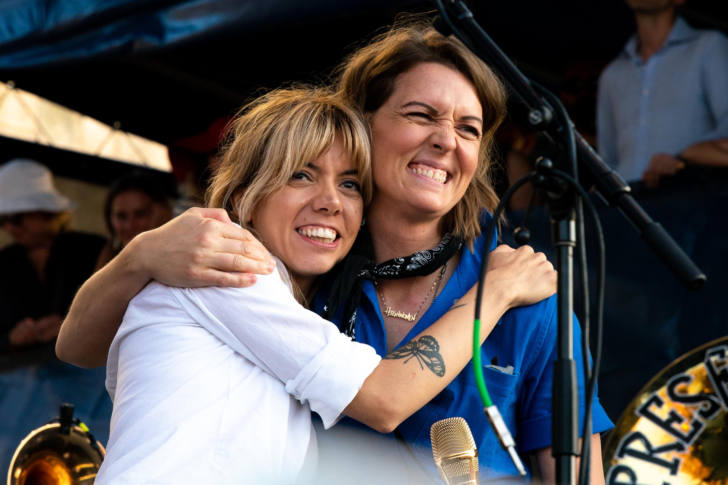 Alynda Segarra (Hurray for the Riff Raff) and Brandi Carlile at Newport Folk Festival (Photo by Mauricio Castro)