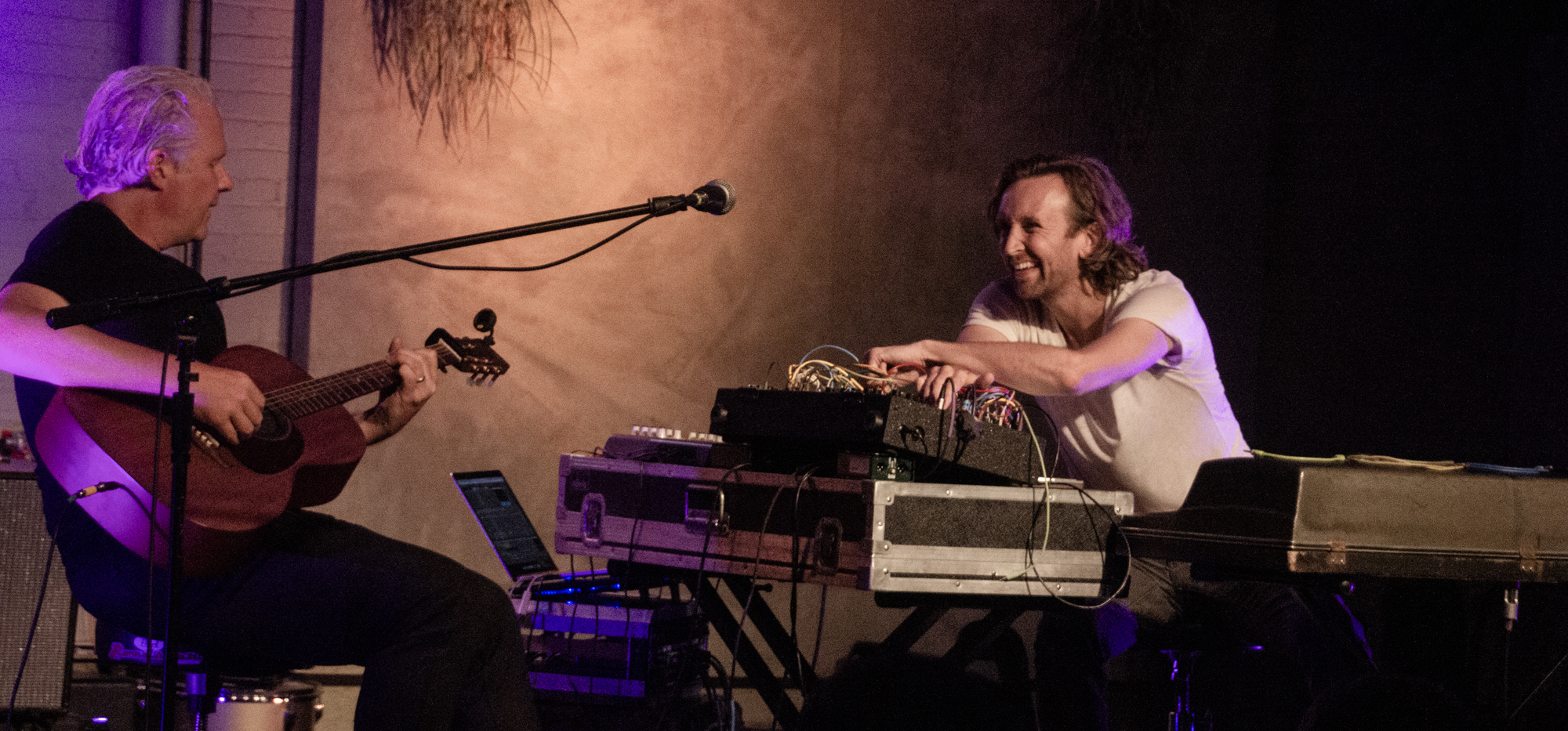 """Rosenau & Sanborn performing """"Bluebird"""" at Colectivo Back Room in Milwaukee, WI - 8/9/19 (Photo by Kevin Hill)"""