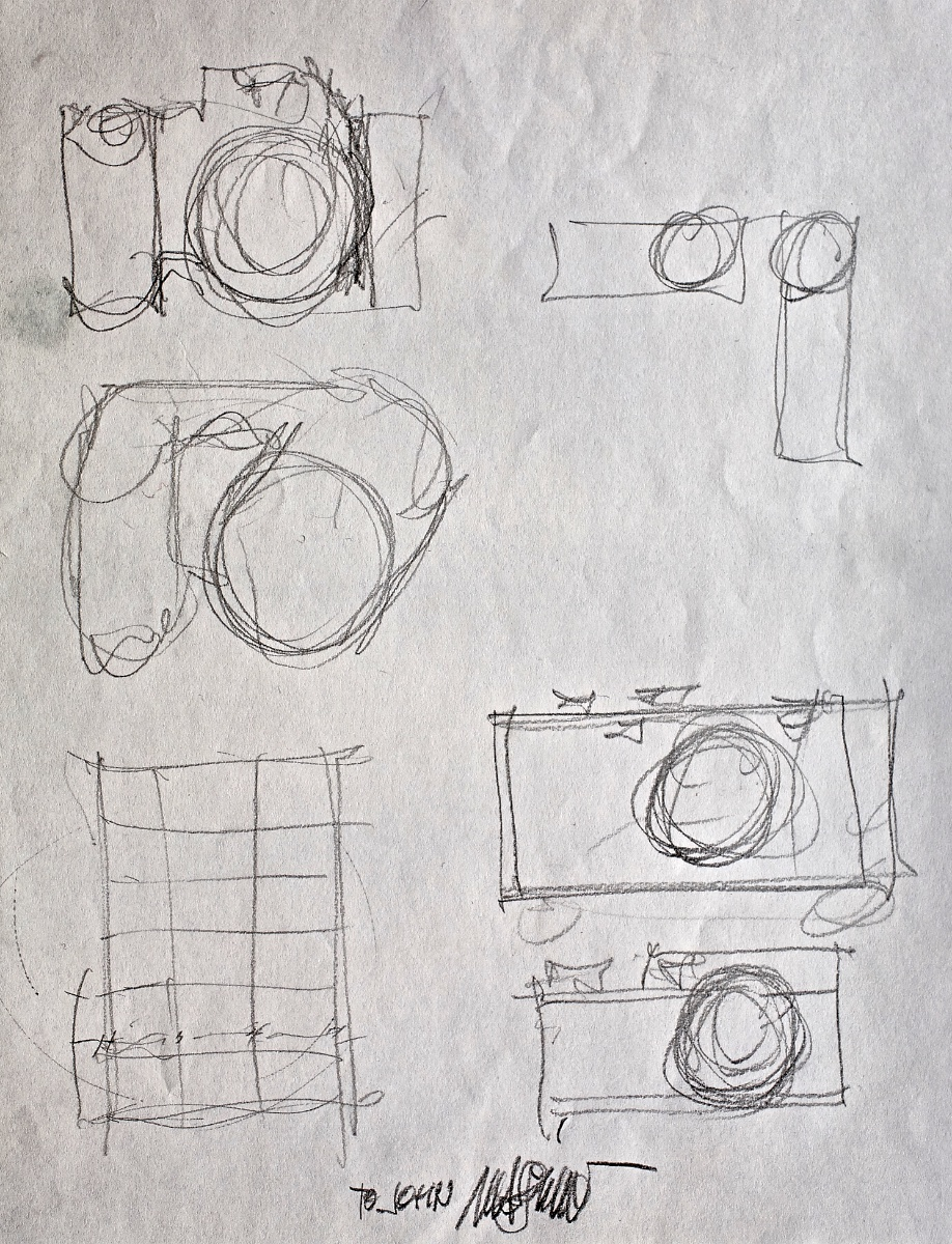 Massimo's sketch depicting the evolution of 35mm camera design.