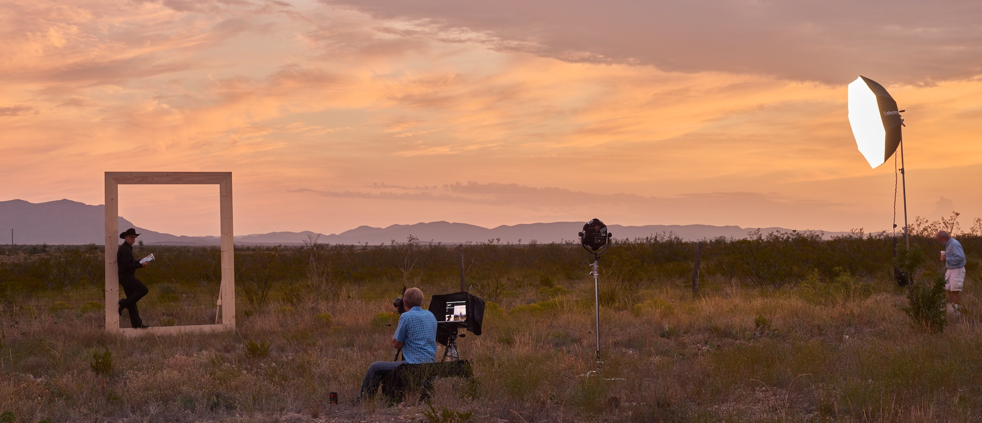 Sunrise shoot in Marathon, Texas. John photographing the portrait of DJ used for the film's promotion and opening and closing sequences. (Production photos courtesy of  James Evans )