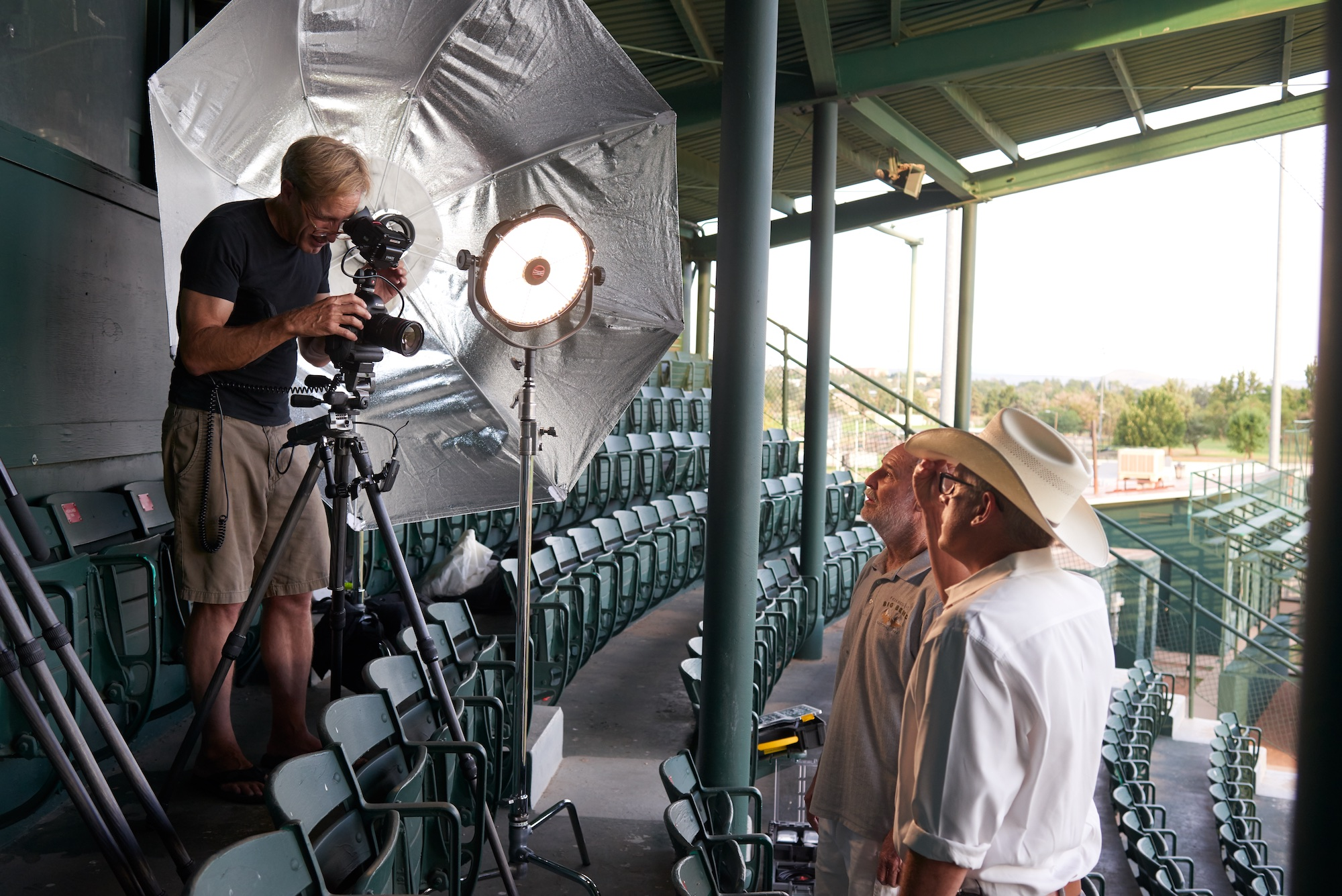 John behind the camera with DJ and Mike McShane just before filming of DJ's interview at Kokernot Field.