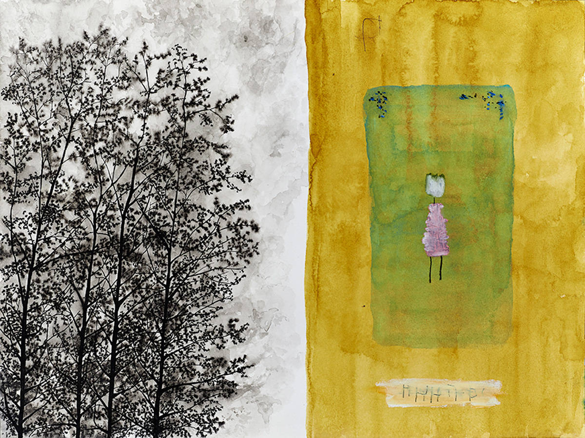 Photograph of someone we are not sure we remember . watercolor, graphite, ink, oil pastel on paper, 2015