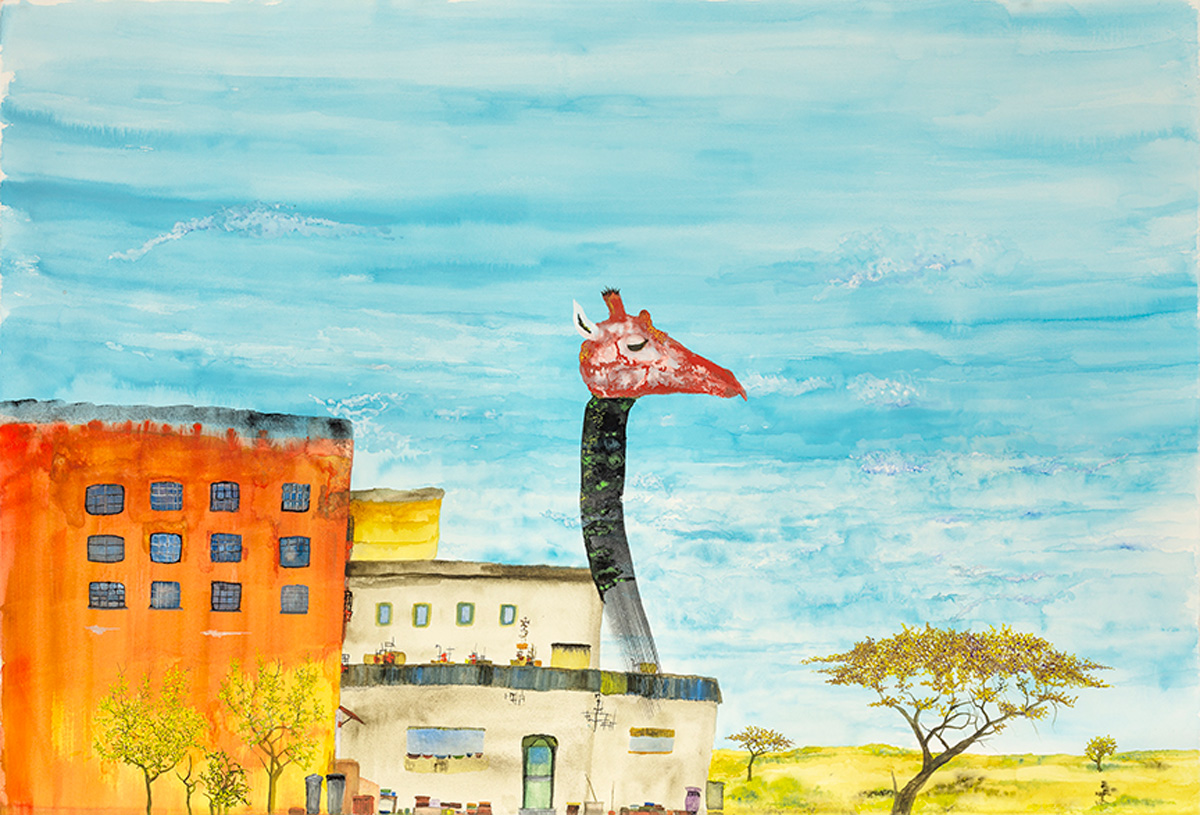 Right outside Nairobi there were giraffes. Giraffes have long necks.  watercolor on paper, 2019
