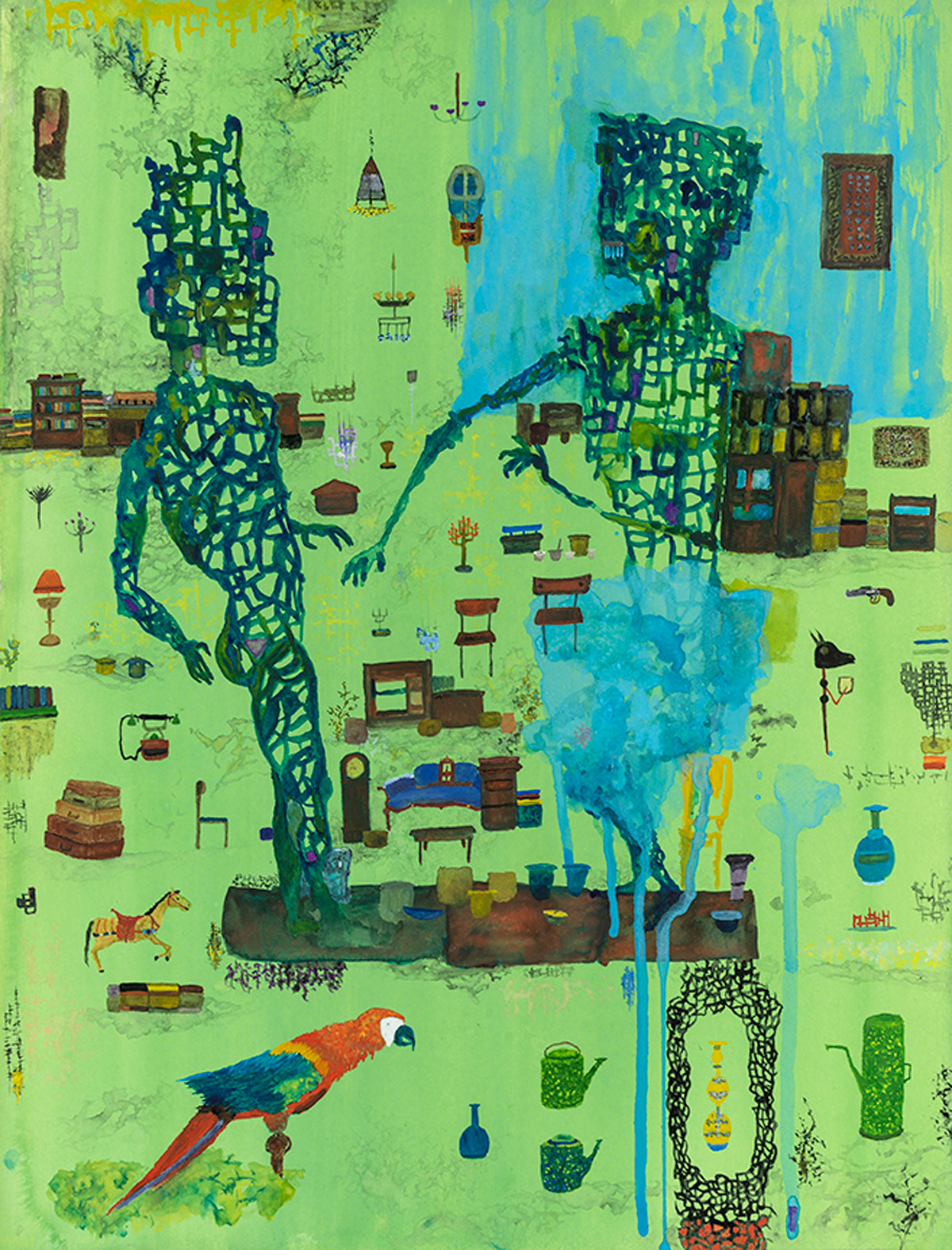 Two dancers, antiques, a parrot, some suitcases, and a blue mess.  watercolor on paper, 2019