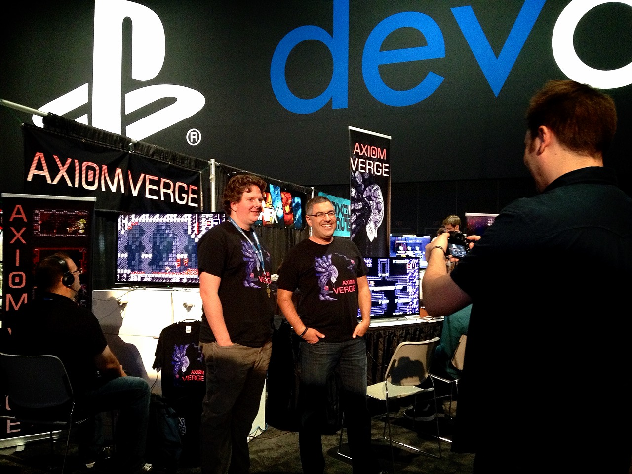 Here's me and Dan at the Axiom Verge booth.  Juston Massongill is the one taking the photo, which came out awesome, but which I couldn't figure out how to download from Instagram :)