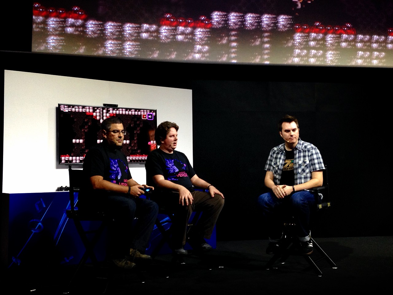 Dan and I did a Twitch LiveCast on stage with Justin interviewing us.  The game was huge on the screen behind us.