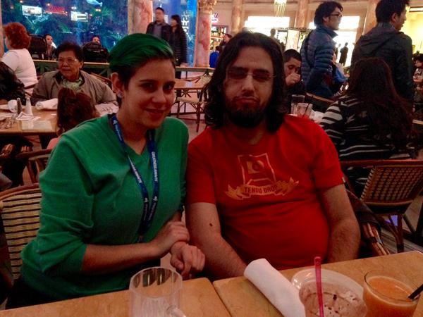 Maya and very sleepy Rami Ismail at Cheesecake factory.  Rami had just taken a 30 hour flight from Taipai and was in need of nourishment.
